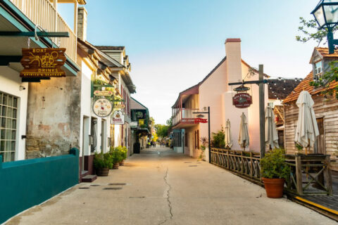 market street in st. augustine with many small businesses